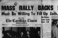 Carolina Times cover page article of King's speech at White Rock Baptist Church